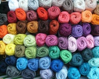 Free colorchoice Catania cotton yarn, 15 skeins, 750 gram total, quality crochet yarn, each 50 gram, 85 colors, lalylala, amigurumi, 4ply