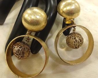 Large Vintage Dangly Filigree Ball Hoop Earrings