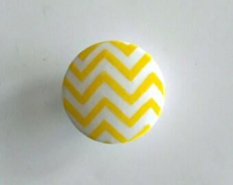 Sale - Yellow and White Chevron Hand Painted Drawer Knob, Large Drawer Knob, Ready to Ship, Chevron Drawer Pull