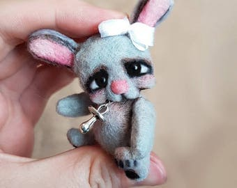 OOAK Micro Miniature Bunny Adley ~ Dollhouse Handmade By Michele Roy