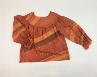 Hand-Painted Fabric by Nina Ombre Orange Blouse