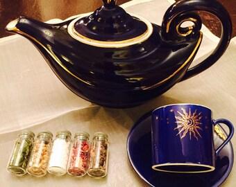 Mystical Ritual Tea Set Vintage Hall Pottery Aladdin's Lamp Tea Pot Sun Moon Tea cup Magickal Herbal Pantry