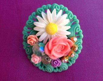 Flower Cluster Kawaii Statement Ring, sweet lolita, fairy kei, gyaru, girly, chunky, Harajuku, spring jewelry