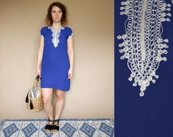 80's vintage women's blue embroidered traditional Indian kurti tunic/ dress