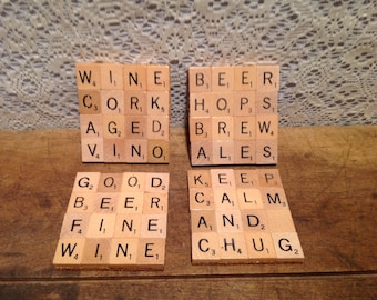 Set of Four Scrabble Tile Coasters
