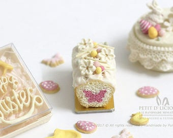RESERVED for Debbie- Peek-a-Boo Butterfly Pound cake - SPRING- Dollhouse Miniature Cake 1:12