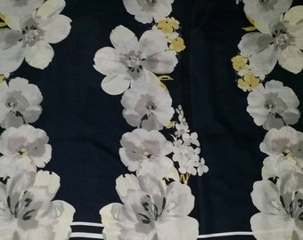 Silk chiffon fabric, floral, best italian quality, made in Italy 2 meters x 1,50