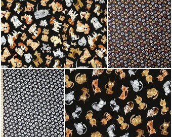 Mini Dogs, Cats, & Paw Prints Cotton Fabric by Timeless Treasures! [Choose Your Cut Size]