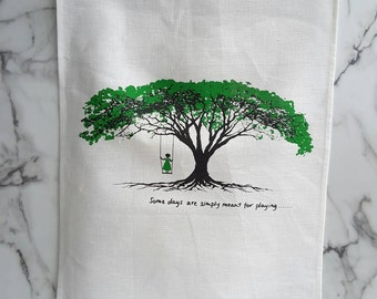 PURE LINEN TEATOWEL, Girl on Tree Swing, Royal Ponciana Tree, Hand screen printed.
