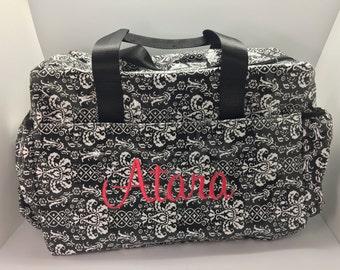 Girl diaper bag, personalized diaper bag, laminated diaper bag, baby shower gift, bag for girls, monogram diaper bag, damask, black pink