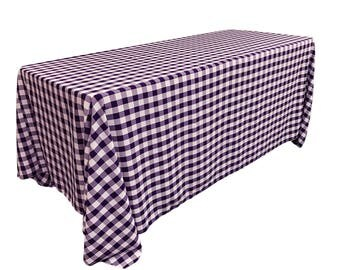 LA Linen Rectangualr Polyester Checkered Tablecloth . Made in the USA