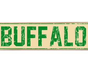 Vintage green Buffalo St sign