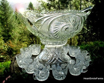 Smith Glass Aztec Punch Bowl with Stand and Glass Ladle with 11 Duncan Miller Cups - Aztec Pattern Punch Bowl - Pinwheel and Cane Design