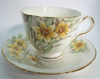 Delphine Tea Cup and Saucer, Delphine Hand Painted Floral teacup and saucer set.