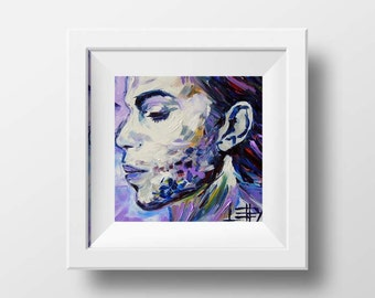 Prince, Celebrity Portrait, Portrait Print, Prince Print, 12x12, Tribute Print by Award Winning San Francisco Artist Lisa Elley