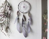 Fairy Secret  . white and purple dreamcatcher with french vintage doily, amethyst, Swarovski & feathers for witchy boho  wall-hanging .