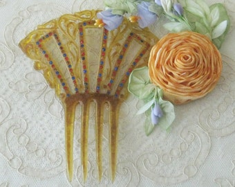 Antique Celluloid Hair Comb with Rhinestones