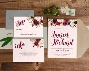 DIY Printable Watercolour Floral Wedding Invitation Main Invitation | Save the Date | RSVP | Details | Calligraphy Script | Burgundy