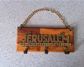 Vintage Wooden and Metal Brass Key Holder - Wooden Wall Hanging Key Holder Hooks