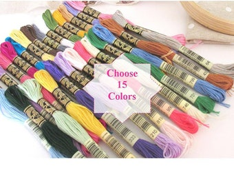 15 Skeins of DMC  - Made in France -  Original DMC - You pick the colors - 456 colors available