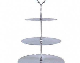 Round Circle Shaped Three Tier Silver Rod Acrylic Cup Cake / High Tea Cake Stand - In Various Sizes and Colours