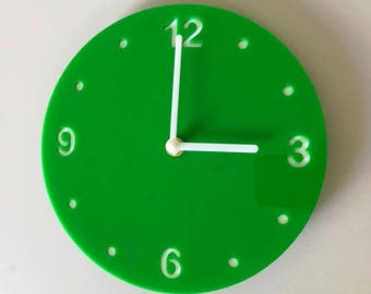 "Round Bright Green & White Clock - White Acrylic Back, Green Gloss Finish Acrylic with White hands, Silent Sweep Movement.  Sizes 8"" or 12"""
