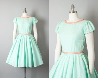 Vintage 1950s Dress | 50s Mint Green Cotton Circle Skirt Puff Sleeve Day Dress (small)