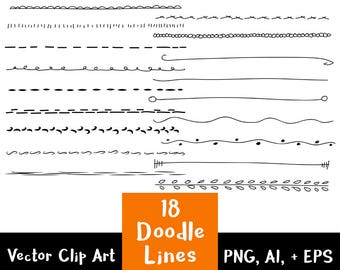 18 Lines Clipart Set 1, Text Dividers, Doodles Clipart, Divider Graphics, Wedding Clipart, Border Clipart, Page Divider, Commercial Use
