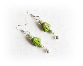 Buddha, green turquoise earrings