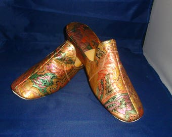 Vintage Jacques Levine Multi Metallic Leather Slippers/House Shoe Size 7.5 (New Old Stock)