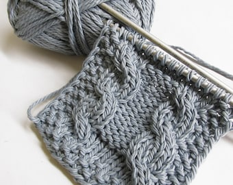 Cotton blend yarn, 4 skeins, gray, 50g, 70m per skein