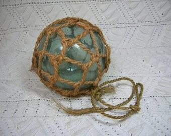 Antique Japanese Fishing Float, with Net, Netting. Rope. Vintage Ukidama