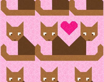 Cats Meow Quilt Pattern, PDF, Instant Download, animal, pet, cat, baby, love, heart, modern patchwork, brown, green, grey, blue, pink