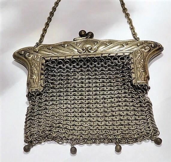 Antique German Silver Purse Art Nouveau 1900s Victorian Coin Purse Chain Metal Steel Mesh Chainmaille Handbag Bag Coin Pouch Wedding Bride