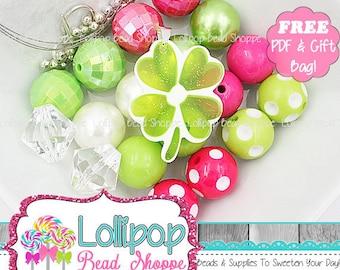 Four Leaf Clover Chunky Necklace Kit Glitter Shamrock Necklace Kit DIY St Patrick's Day Bead Kits Chunky Bead Kit Bubblegum Beads NBK4