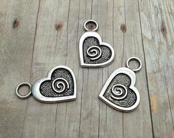10 Heart Charms / Silver Heart Charms / Swirl Heart Charms / Antique Silver Heart Charms / Heart Charms / Silver Heart Charm / Heart Charm