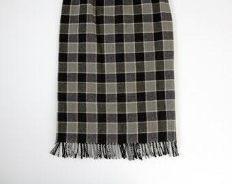 Vintage skirt // long fringe checked skirt // gray wool skirt
