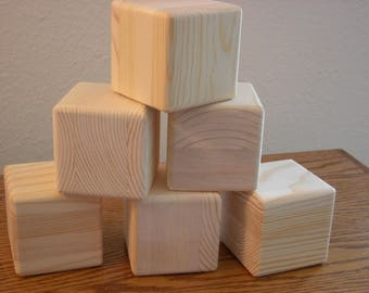 12 Unfinished Wood Cubes for your Craft Project Handmade Blocks Finish Ready