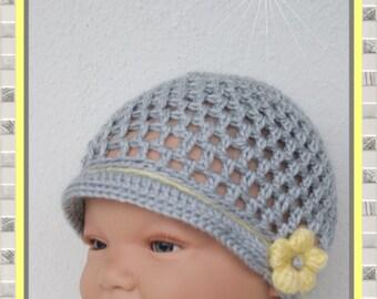 Baby Hat new born Hat grey yellow