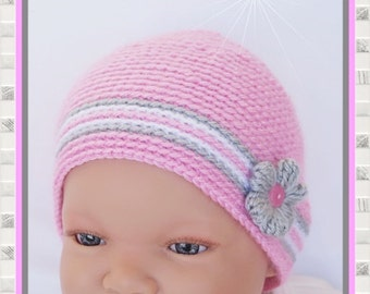 Baby Hat new born Hat white pink grey with crochet flowers