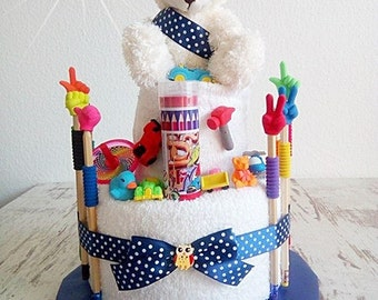 Towel cake for little boys with cuddly bear, crayons, erasers, what to the play! Gift for Easter, birthday, school,