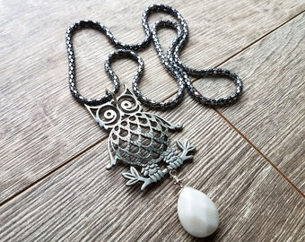 Don't Park Under That Tree- Vintage Owl Pendant White Jade Teardrop Necklace