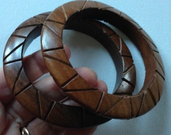 Bangles - pair of carved wooden bangles