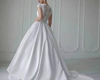 Bridal Lace Wedding Dress - Ava Wedding Stunning Lace Dress - Long Wedding Dress with Train - Elegant Wedding Dress - Simple Wedding Dress