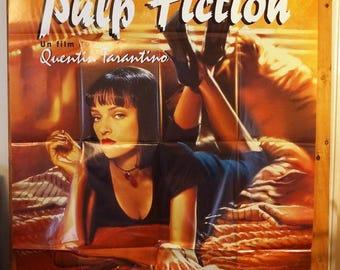 """French Subway Movie Poster    """"Pulp Fiction""""   -     John Travolta, Uma Thurman"""