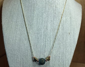 Hematite and Natural Blue Druzy Agate Necklace