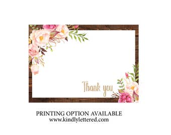 Instant Download Thank You Note Cards-Thank You Cards-Rustic Thank You Cards-Thank You 5x7 Cards