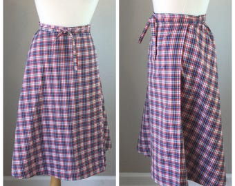 Vintage Plaid 70's wrap skirt