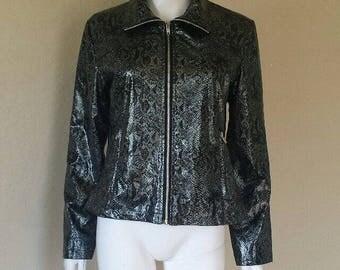 90s silver black faux snakeskin jacket