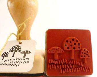 Wood stamps mushroom toadstools